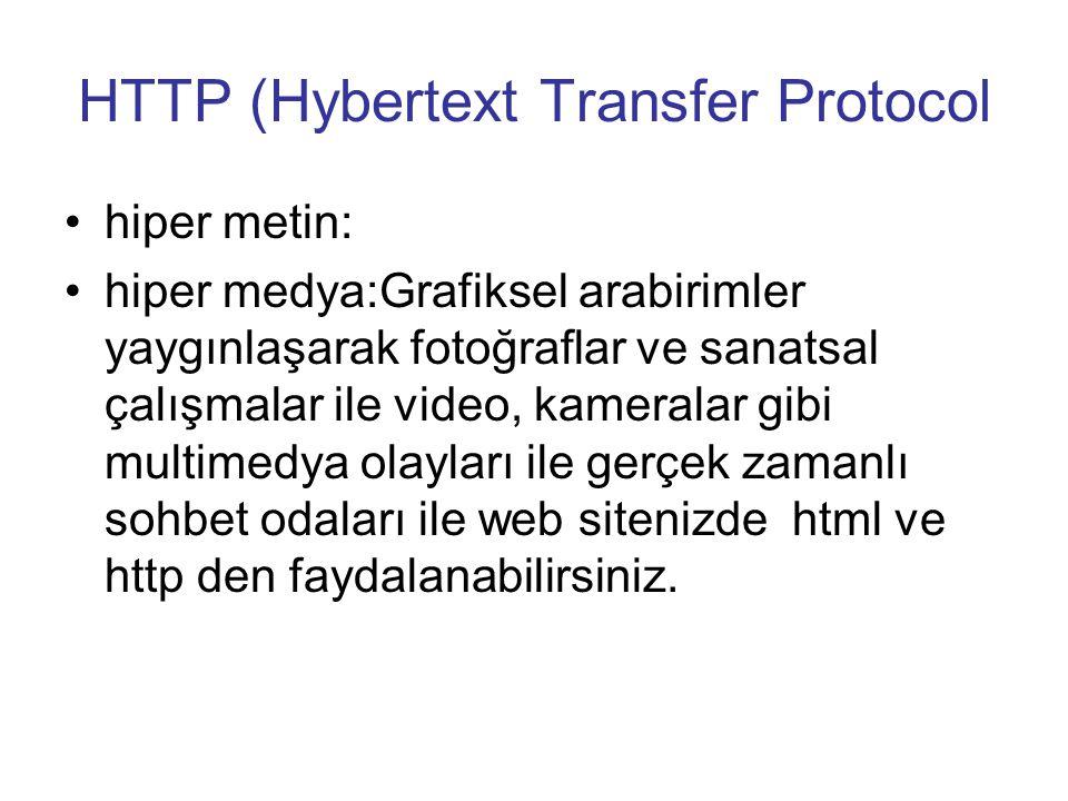 HTTP (Hybertext Transfer Protocol •hiper metin: •hiper medya:Grafiksel arabirimler yaygınlaşarak fotoğraflar ve sanatsal çalışmalar ile video, kameralar gibi multimedya olayları ile gerçek zamanlı sohbet odaları ile web sitenizde html ve http den faydalanabilirsiniz.