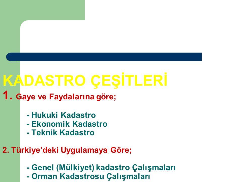 KADASTRO ÇEŞİTLERİ 1.