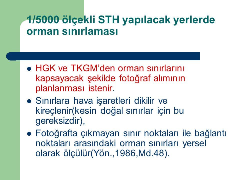 1/5000 ölçekli STH yapılacak yerlerde orman sınırlaması  HGK ve TKGM'den orman sınırlarını kapsayacak şekilde fotoğraf alımının planlanması istenir.