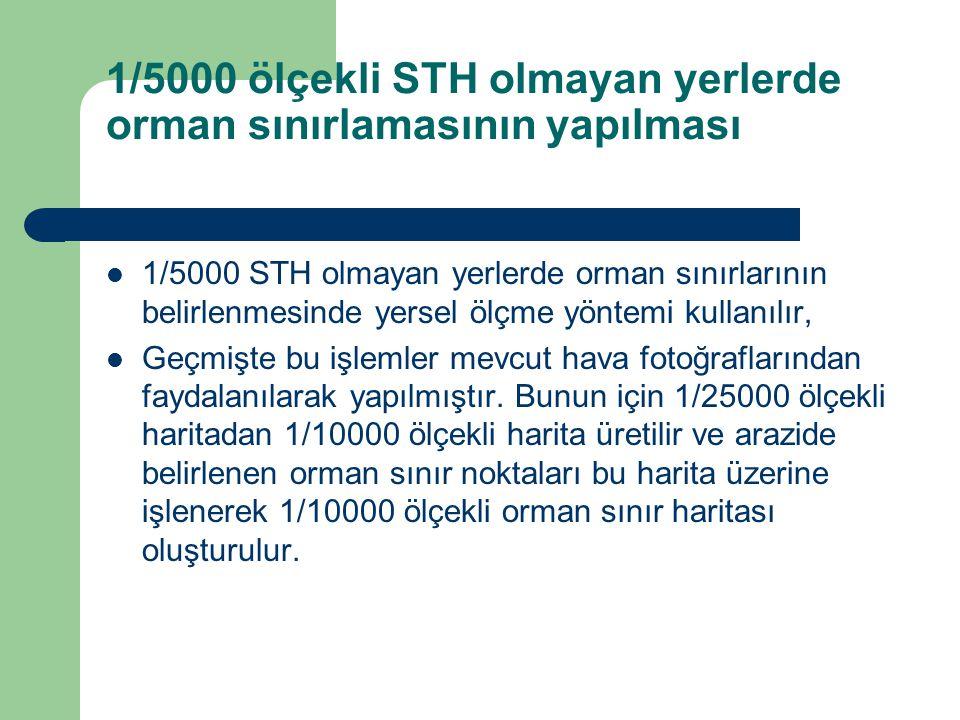 1/5000 ölçekli STH olmayan yerlerde orman sınırlamasının yapılması  1/5000 STH olmayan yerlerde orman sınırlarının belirlenmesinde yersel ölçme yöntemi kullanılır,  Geçmişte bu işlemler mevcut hava fotoğraflarından faydalanılarak yapılmıştır.