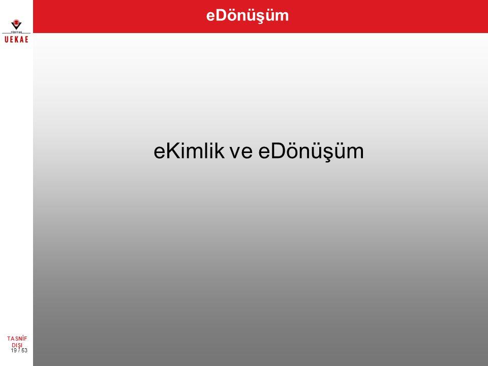 eDönüşüm eKimlik ve eDönüşüm TASNİF DIŞI 19 / 53