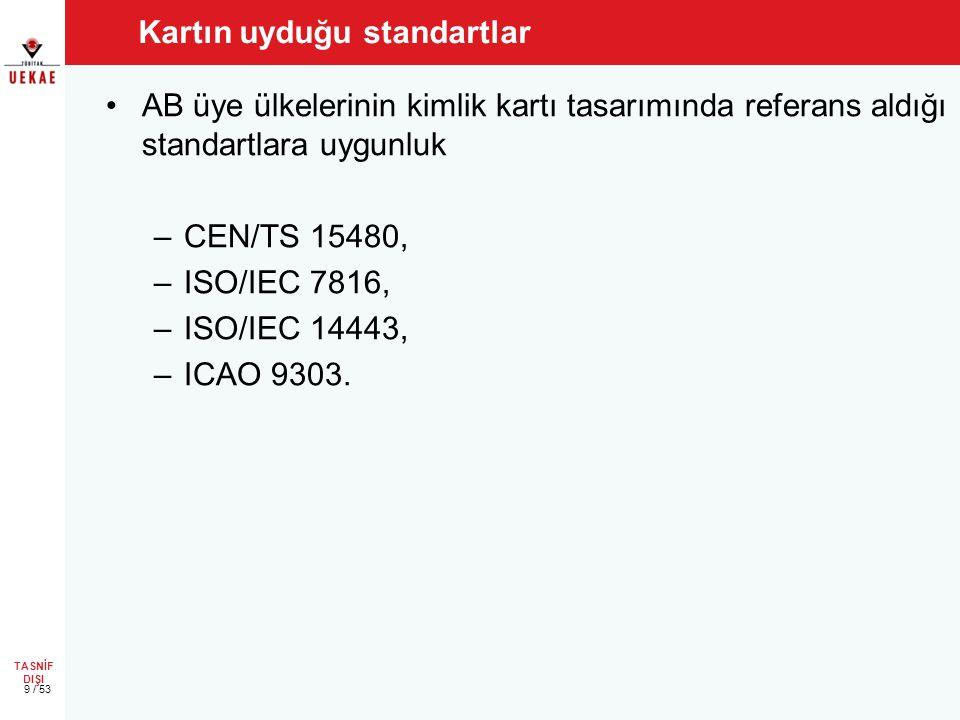 TASNİF DIŞI Kartın uyduğu standartlar •AB üye ülkelerinin kimlik kartı tasarımında referans aldığı standartlara uygunluk –CEN/TS 15480, –ISO/IEC 7816, –ISO/IEC 14443, –ICAO 9303.