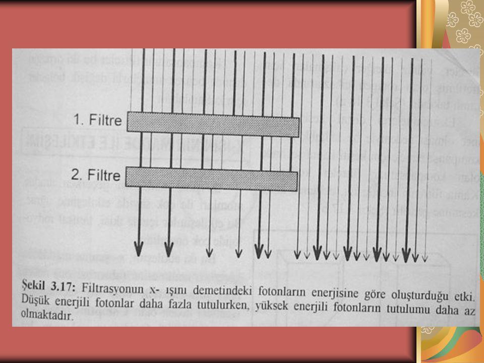 FİLTRASYON 1 Filtrasyonun amacı, bir radyografi tetkikinde, x-ışını demeti içindeki tanı değeri olmayan ve hasta ile teknisyenin aldığı dozu arttıran düşük enerjili ışınları azaltmaktadır.