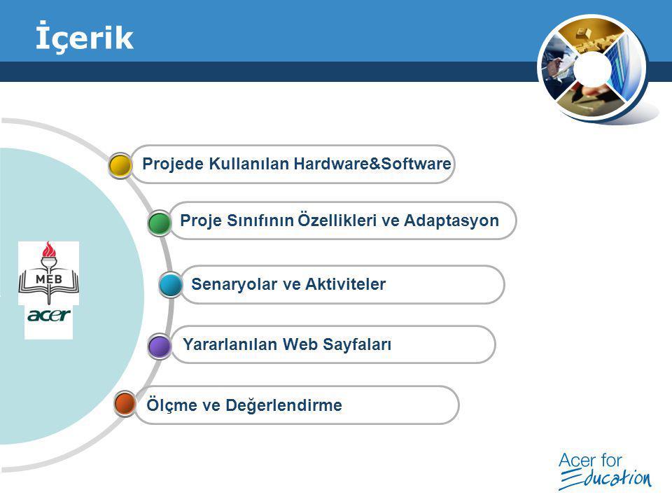 Company Logo İçerik Ölçme ve Değerlendirme Yararlanılan Web Sayfaları Senaryolar ve Aktiviteler Proje Sınıfının Özellikleri ve Adaptasyon Projede Kull