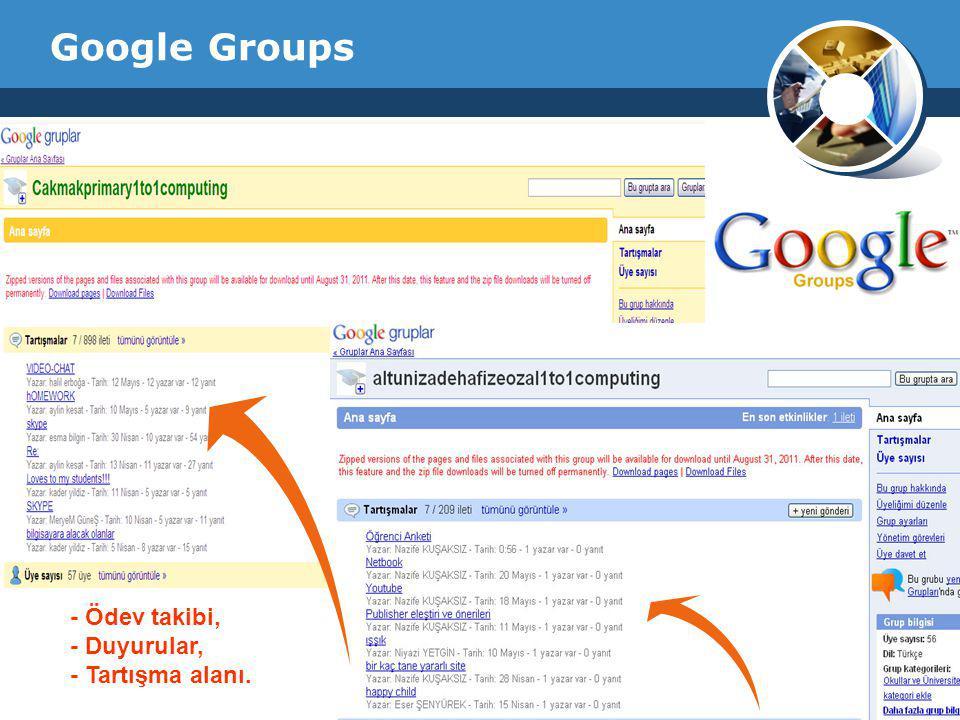 Company Logo Google Groups - Ödev takibi, - Duyurular, - Tartışma alanı.