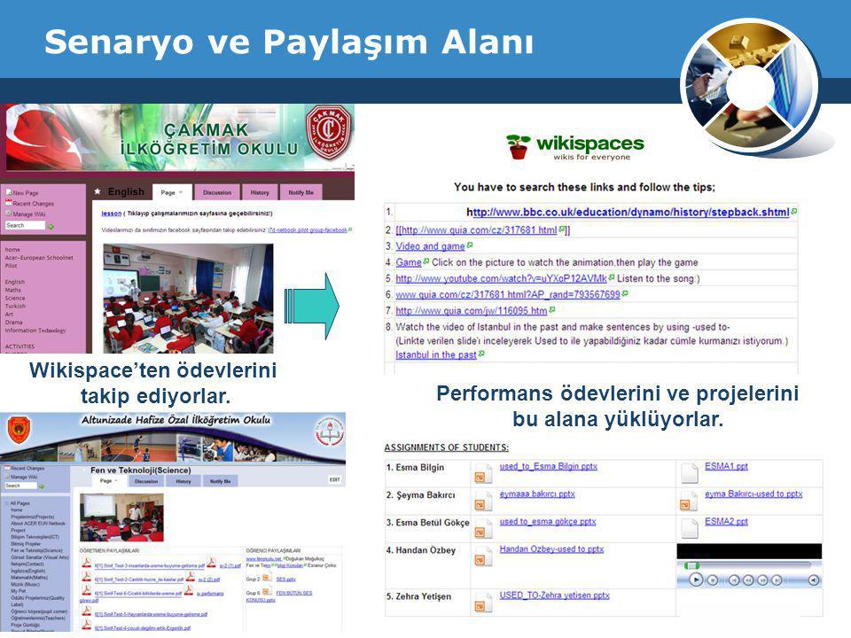 Company Logo Senaryo ve Paylaşım Alanı Performans ödevlerini ve projelerini bu alana yüklüyorlar. Wikispace'ten ödevlerini takip ediyorlar.