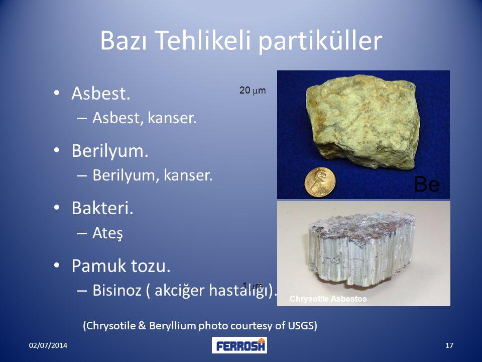 Bazı Tehlikeli partiküller • Asbest. – Asbest, kanser. • Berilyum. – Berilyum, kanser. • Bakteri. – Ateş • Pamuk tozu. – Bisinoz ( akciğer hastalığı).