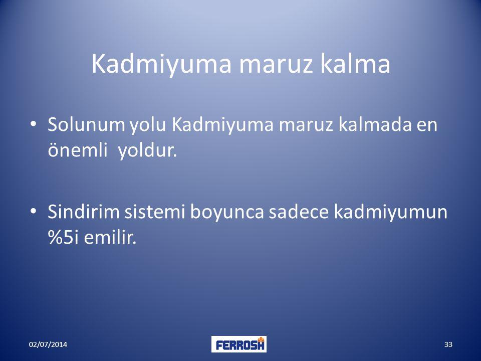 Kadmiyuma maruz kalma • Solunum yolu Kadmiyuma maruz kalmada en önemli yoldur. • Sindirim sistemi boyunca sadece kadmiyumun %5i emilir. 02/07/201433