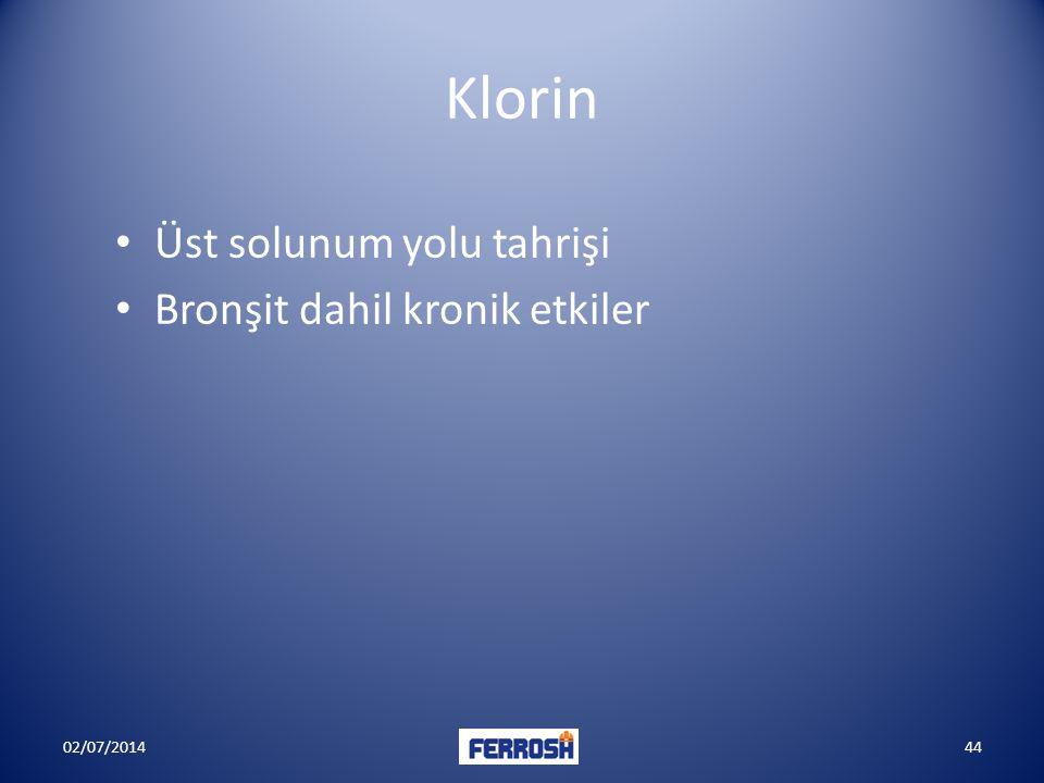 Klorin • Üst solunum yolu tahrişi • Bronşit dahil kronik etkiler 02/07/201444