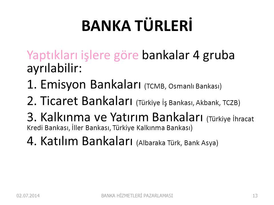 BANKA TÜRLERİ Yaptıkları işlere göre bankalar 4 gruba ayrılabilir: 1. Emisyon Bankaları (TCMB, Osmanlı Bankası) 2. Ticaret Bankaları (Türkiye İş Banka