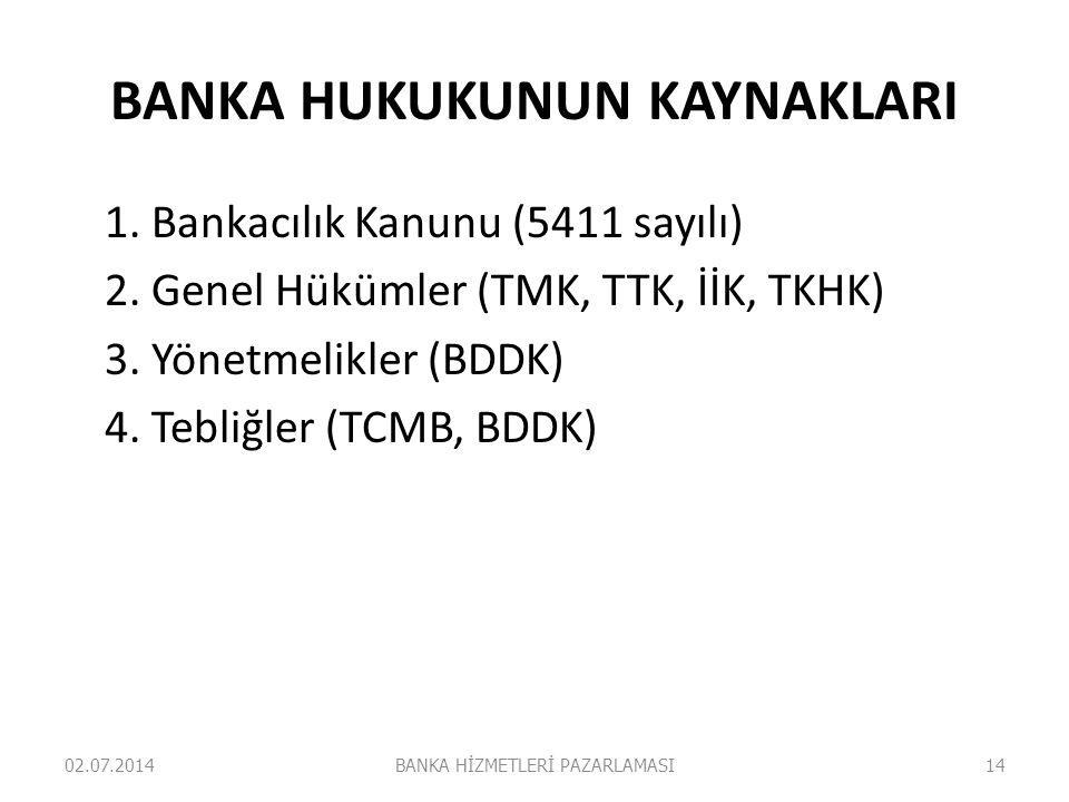 BANKA HUKUKUNUN KAYNAKLARI 1. Bankacılık Kanunu (5411 sayılı) 2. Genel Hükümler (TMK, TTK, İİK, TKHK) 3. Yönetmelikler (BDDK) 4. Tebliğler (TCMB, BDDK