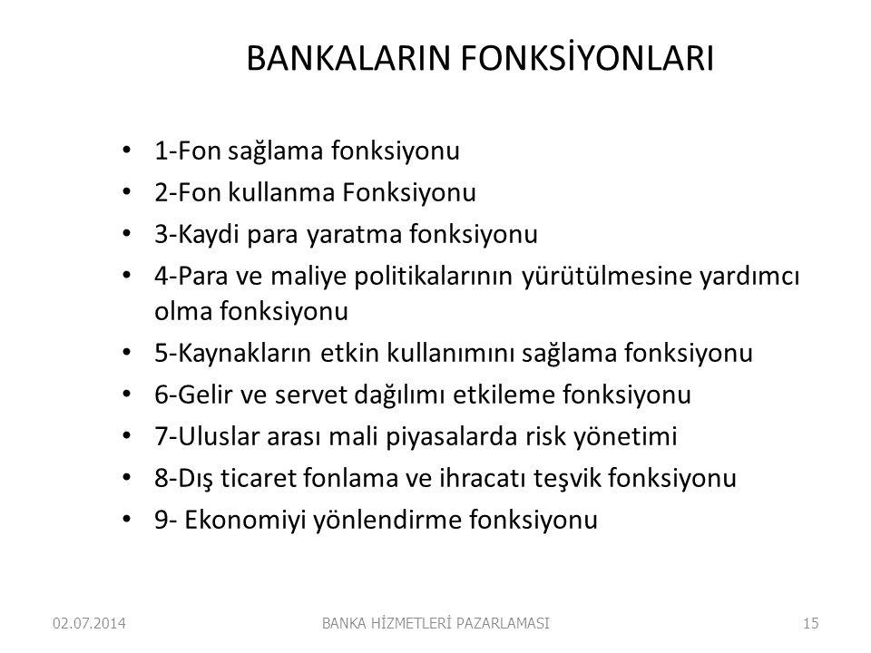 BANKALARIN FONKSİYONLARI • 1-Fon sağlama fonksiyonu • 2-Fon kullanma Fonksiyonu • 3-Kaydi para yaratma fonksiyonu • 4-Para ve maliye politikalarının y
