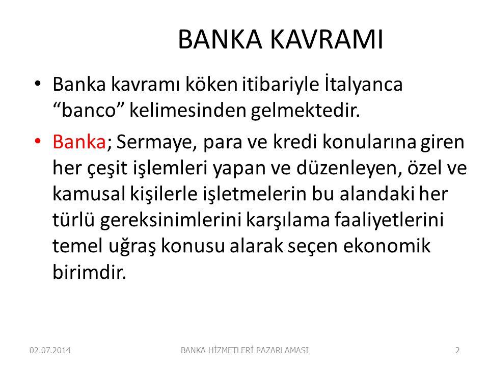 """BANKA KAVRAMI • Banka kavramı köken itibariyle İtalyanca """"banco"""" kelimesinden gelmektedir. • Banka; Sermaye, para ve kredi konularına giren her çeşit"""