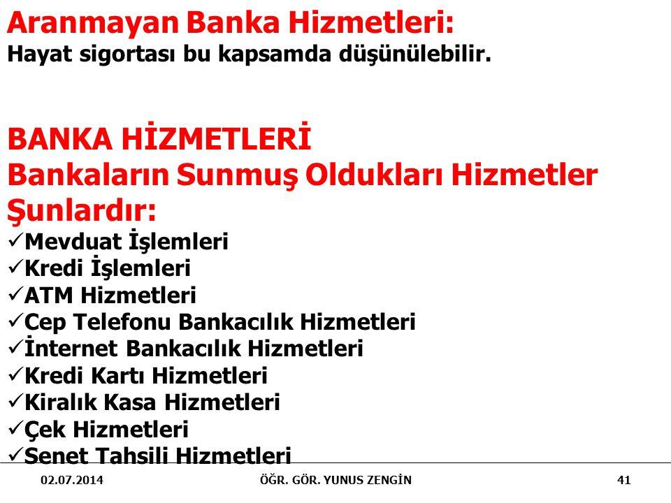 02.07.2014ÖĞR. GÖR. YUNUS ZENGİN41 Aranmayan Banka Hizmetleri: Hayat sigortası bu kapsamda düşünülebilir. BANKA HİZMETLERİ Bankaların Sunmuş Oldukları