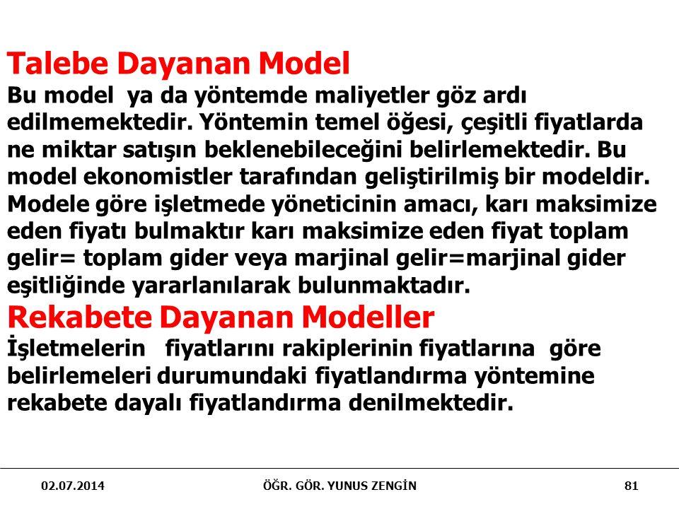 02.07.201481ÖĞR. GÖR. YUNUS ZENGİN Talebe Dayanan Model Bu model ya da yöntemde maliyetler göz ardı edilmemektedir. Yöntemin temel öğesi, çeşitli fiya