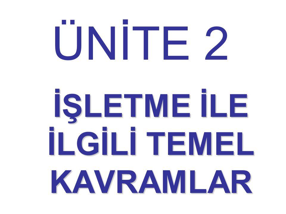ÜNİTE 2 İŞLETME İLE İLGİLİ TEMEL KAVRAMLAR
