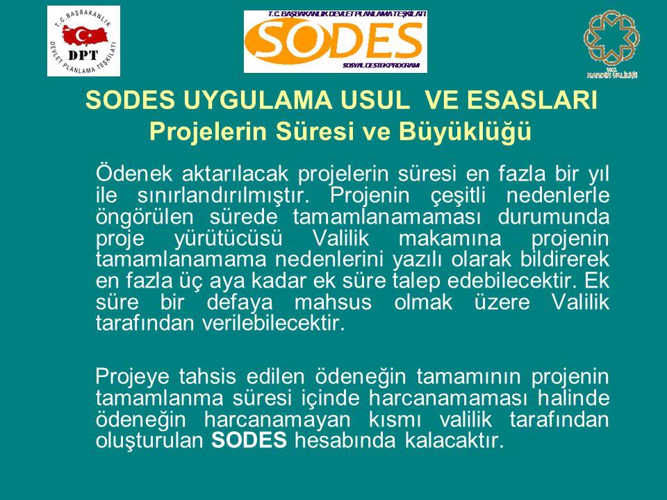 SODES UYGULAMA USUL VE ESASLARI Projelerin Süresi ve Büyüklüğü Ödenek aktarılacak projelerin süresi en fazla bir yıl ile sınırlandırılmıştır. Projenin