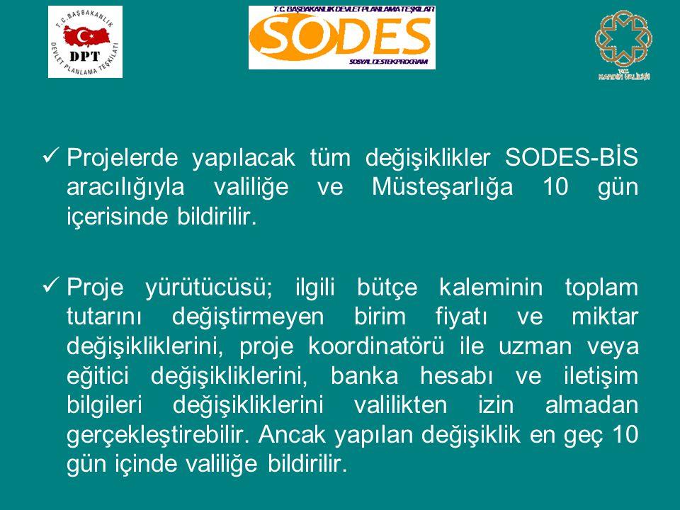  Projelerde yapılacak tüm değişiklikler SODES-BİS aracılığıyla valiliğe ve Müsteşarlığa 10 gün içerisinde bildirilir.  Proje yürütücüsü; ilgili bütç