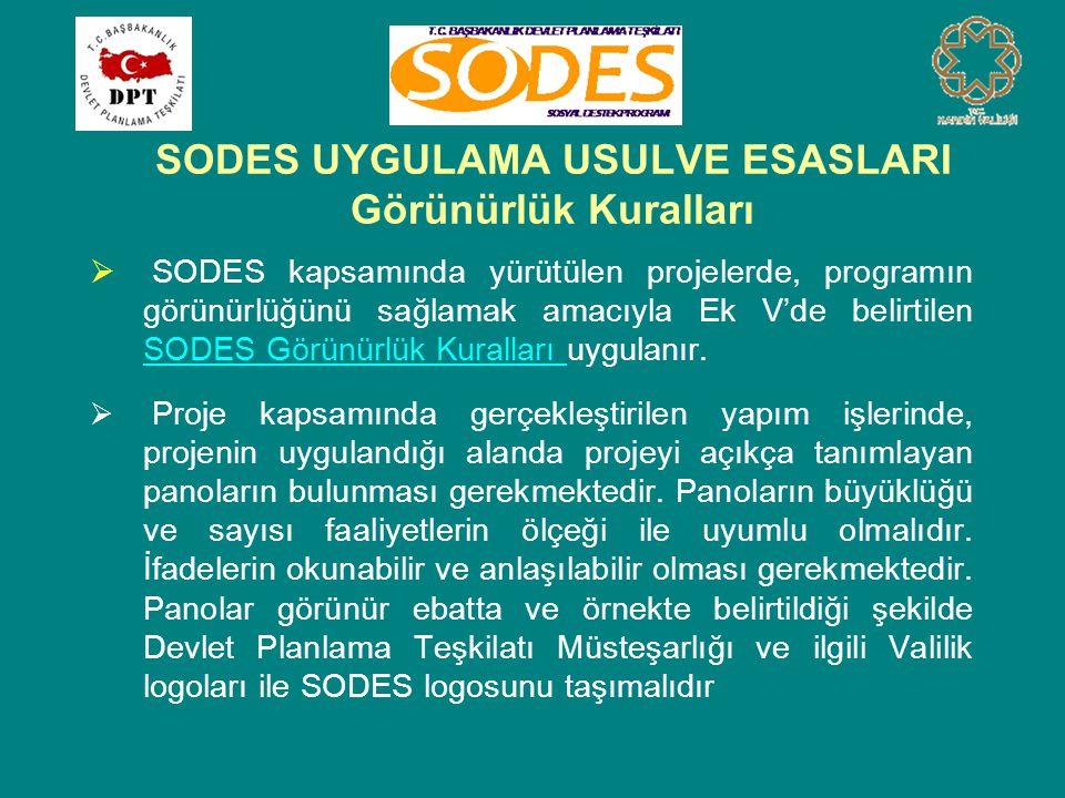 SODES UYGULAMA USULVE ESASLARI Görünürlük Kuralları  SODES kapsamında yürütülen projelerde, programın görünürlüğünü sağlamak amacıyla Ek V'de belirti