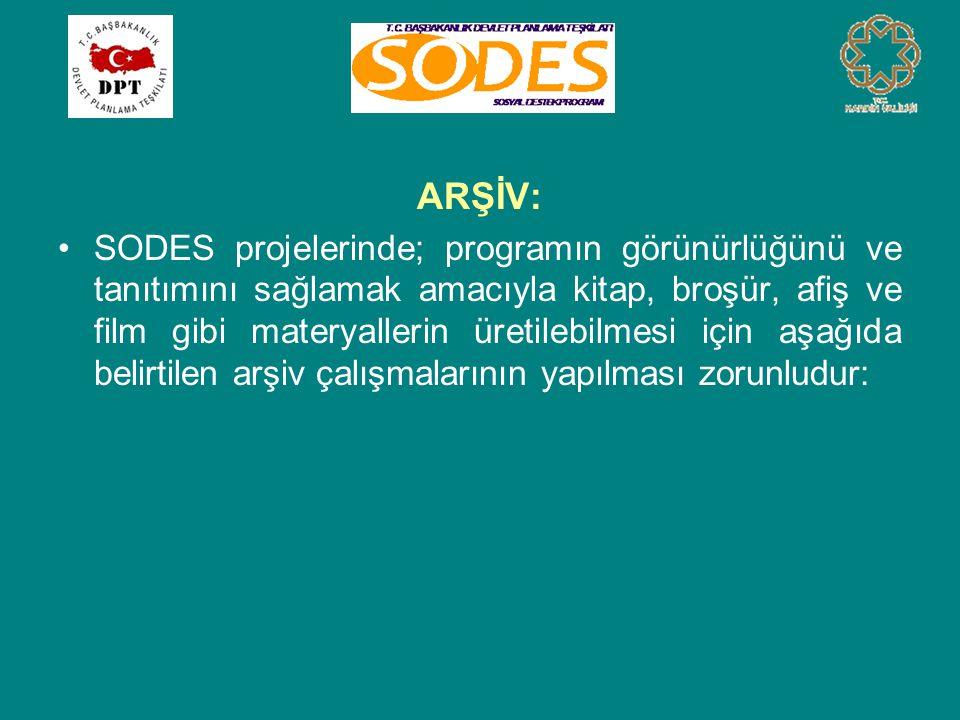 ARŞİV: •SODES projelerinde; programın görünürlüğünü ve tanıtımını sağlamak amacıyla kitap, broşür, afiş ve film gibi materyallerin üretilebilmesi için