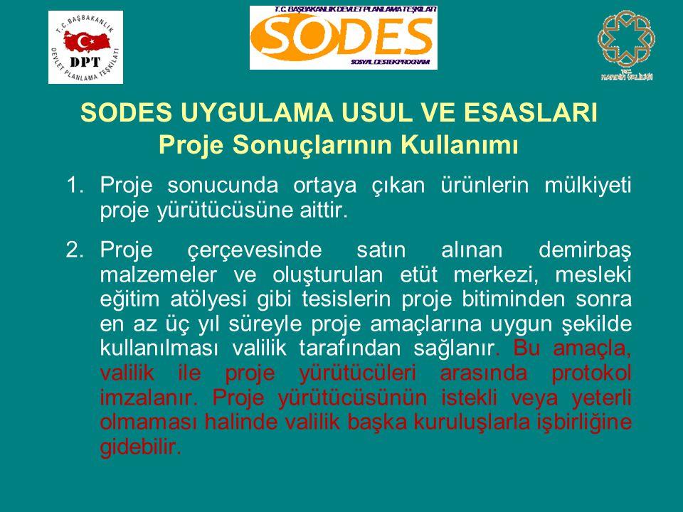 SODES UYGULAMA USUL VE ESASLARI Proje Sonuçlarının Kullanımı 1.Proje sonucunda ortaya çıkan ürünlerin mülkiyeti proje yürütücüsüne aittir. 2.Proje çer