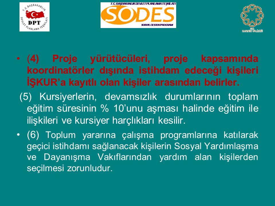 •(4) Proje yürütücüleri, proje kapsamında koordinatörler dışında istihdam edeceği kişileri İŞKUR'a kayıtlı olan kişiler arasından belirler. (5) Kursiy