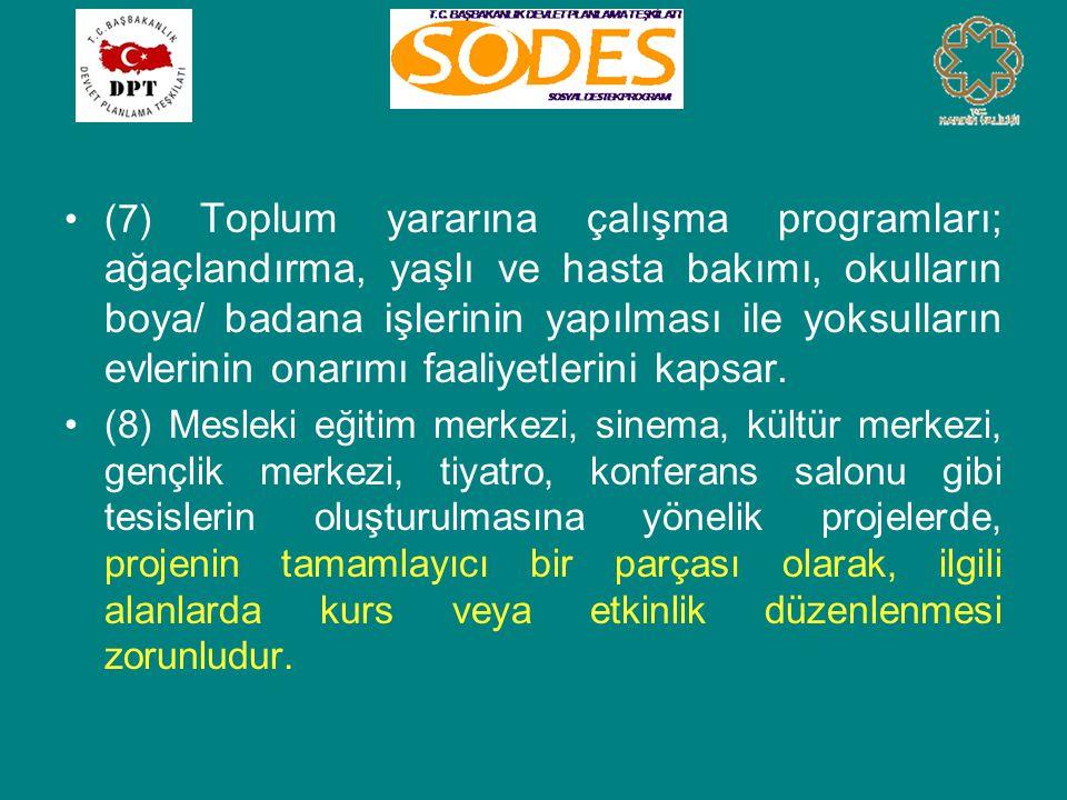 •(7) Toplum yararına çalışma programları; ağaçlandırma, yaşlı ve hasta bakımı, okulların boya/ badana işlerinin yapılması ile yoksulların evlerinin onarımı faaliyetlerini kapsar.