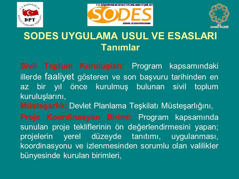 SODES UYGULAMA USUL VE ESASLARI Tanımlar Sivil Toplum Kuruluşları: Program kapsamındaki illerde faaliyet gösteren ve son başvuru tarihinden en az bir yıl önce kurulmuş bulunan sivil toplum kuruluşlarını, Müsteşarlık: Devlet Planlama Teşkilatı Müsteşarlığını, Proje Koordinasyon Birimi: Program kapsamında sunulan proje tekliflerinin ön değerlendirmesini yapan; projelerin yerel düzeyde tanıtımı, uygulanması, koordinasyonu ve izlenmesinden sorumlu olan valilikler bünyesinde kurulan birimleri,