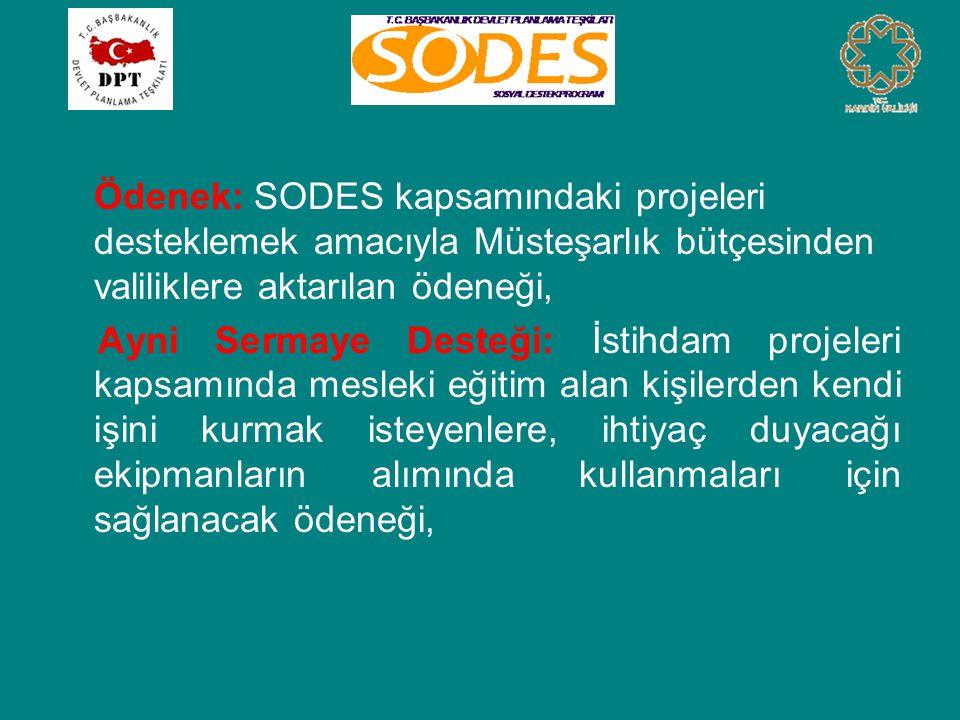 Ödenek: SODES kapsamındaki projeleri desteklemek amacıyla Müsteşarlık bütçesinden valiliklere aktarılan ödeneği, Ayni Sermaye Desteği: İstihdam projeleri kapsamında mesleki eğitim alan kişilerden kendi işini kurmak isteyenlere, ihtiyaç duyacağı ekipmanların alımında kullanmaları için sağlanacak ödeneği,