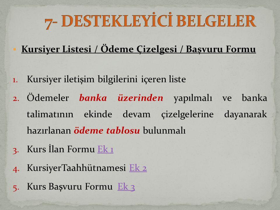  Kursiyer Listesi / Ödeme Çizelgesi / Başvuru Formu 1.