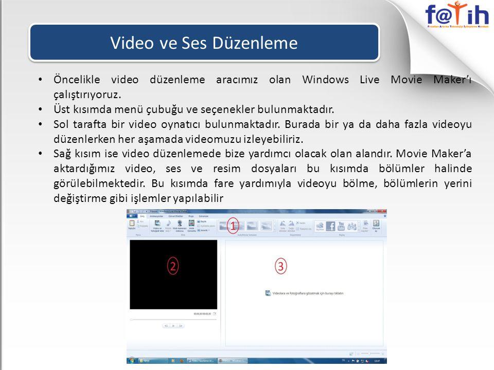 Video ve Ses Düzenleme • Öncelikle video düzenleme aracımız olan Windows Live Movie Maker'ı çalıştırıyoruz. • Üst kısımda menü çubuğu ve seçenekler bu