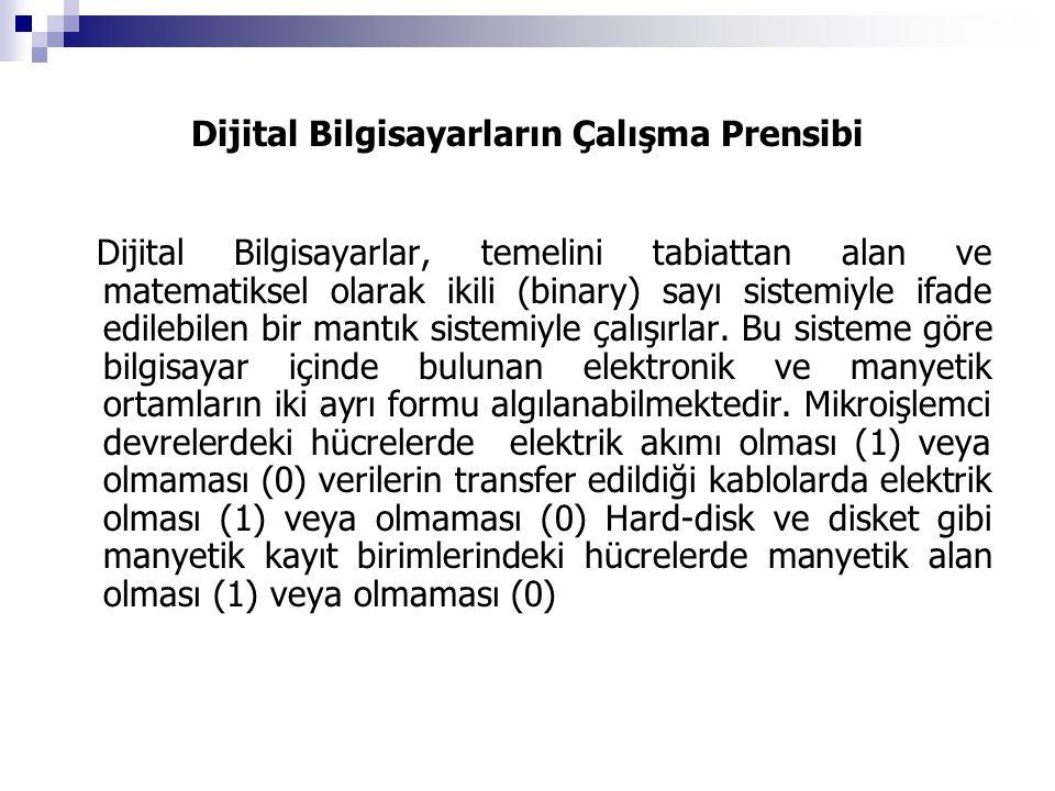 Dijital Bilgisayarların Çalışma Prensibi Dijital Bilgisayarlar, temelini tabiattan alan ve matematiksel olarak ikili (binary) sayı sistemiyle ifade ed