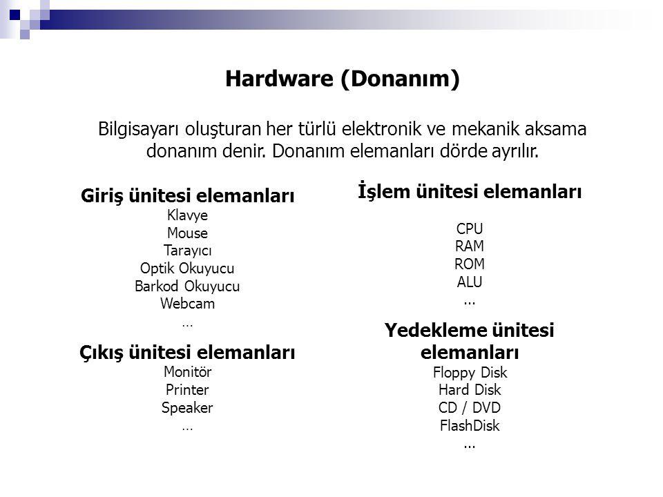Hardware (Donanım) Bilgisayarı oluşturan her türlü elektronik ve mekanik aksama donanım denir. Donanım elemanları dörde ayrılır. Giriş ünitesi elemanl