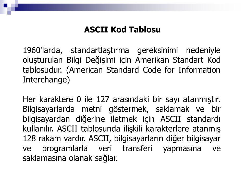 ASCII Kod Tablosu 1960'larda, standartlaştırma gereksinimi nedeniyle oluşturulan Bilgi Değişimi için Amerikan Standart Kod tablosudur. (American Stand