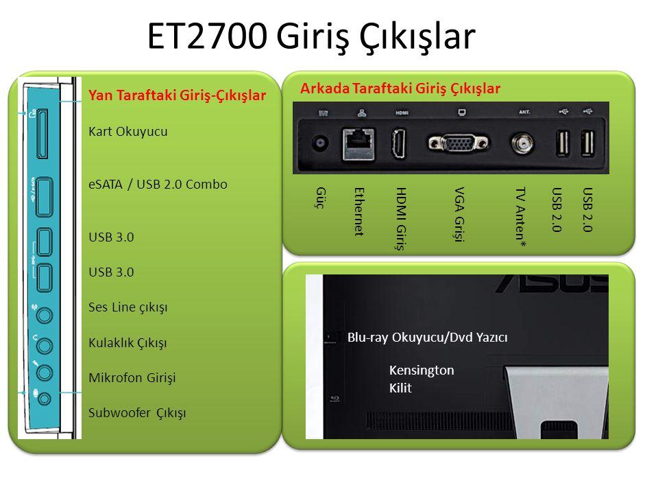 USB 2.0 TV Anten * VGA Grişi HDMI Giriş EthernetGüç Blu-ray Okuyucu/Dvd Yazıcı Kensington Kilit Yan Taraftaki Giriş-Çıkışlar Kart Okuyucu eSATA / USB 2.0 Combo USB 3.0 Ses Line çıkışı Kulaklık Çıkışı Mikrofon Girişi Subwoofer Çıkışı ET2700 Giriş Çıkışlar Arkada Taraftaki Giriş Çıkışlar