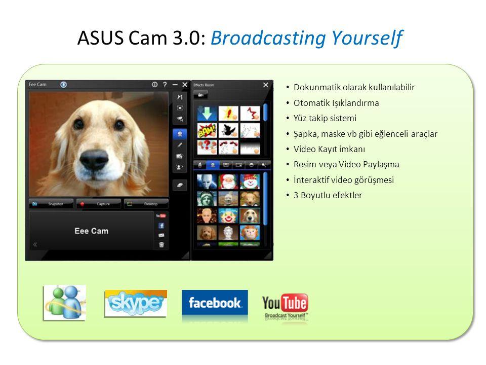 • Dokunmatik olarak kullanılabilir • Otomatik Işıklandırma • Yüz takip sistemi • Şapka, maske vb gibi eğlenceli araçlar • Video Kayıt imkanı • Resim veya Video Paylaşma • İnteraktif video görüşmesi • 3 Boyutlu efektler ASUS Cam 3.0: Broadcasting Yourself
