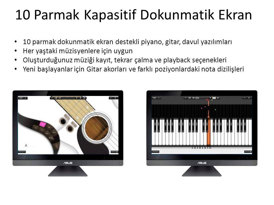 • 10 parmak dokunmatik ekran destekli piyano, gitar, davul yazılımları • Her yaştaki müzisyenlere için uygun • Oluşturduğunuz müziği kayıt, tekrar çalma ve playback seçenekleri • Yeni başlayanlar için Gitar akorları ve farklı poziyonlardaki nota dizilişleri 10 Parmak Kapasitif Dokunmatik Ekran