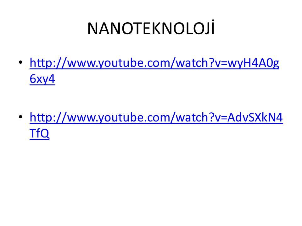 NANOTEKNOLOJİ • http://www.youtube.com/watch?v=wyH4A0g 6xy4 http://www.youtube.com/watch?v=wyH4A0g 6xy4 • http://www.youtube.com/watch?v=AdvSXkN4 TfQ