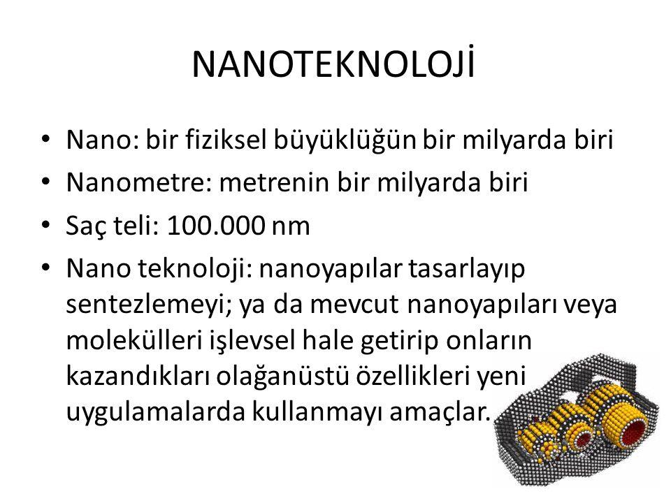 NANOTEKNOLOJİ • Nano: bir fiziksel büyüklüğün bir milyarda biri • Nanometre: metrenin bir milyarda biri • Saç teli: 100.000 nm • Nano teknoloji: nanoy