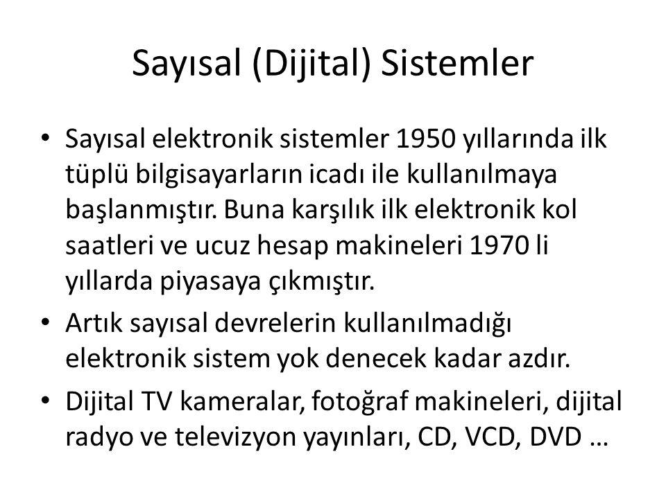 Sayısal (Dijital) Sistemler • Sayısal elektronik sistemler 1950 yıllarında ilk tüplü bilgisayarların icadı ile kullanılmaya başlanmıştır. Buna karşılı