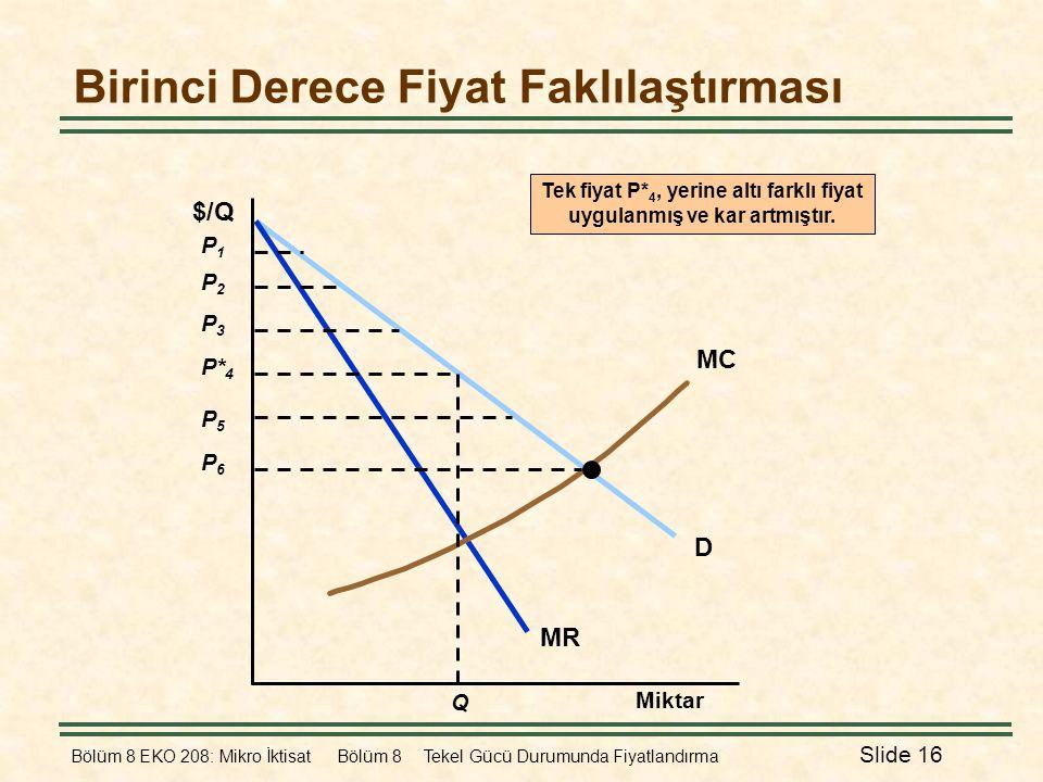 Bölüm 8 EKO 208: Mikro İktisat Bölüm 8 Tekel Gücü Durumunda Fiyatlandırma Slide 16 Birinci Derece Fiyat Faklılaştırması Miktar D MR MC $/Q P2P2 P3P3 P