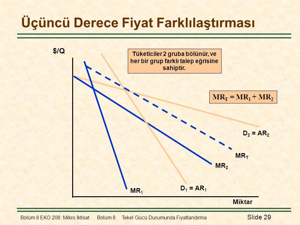 Bölüm 8 EKO 208: Mikro İktisat Bölüm 8 Tekel Gücü Durumunda Fiyatlandırma Slide 29 Üçüncü Derece Fiyat Farklılaştırması Miktar D 2 = AR 2 MR 2 $/Q D 1