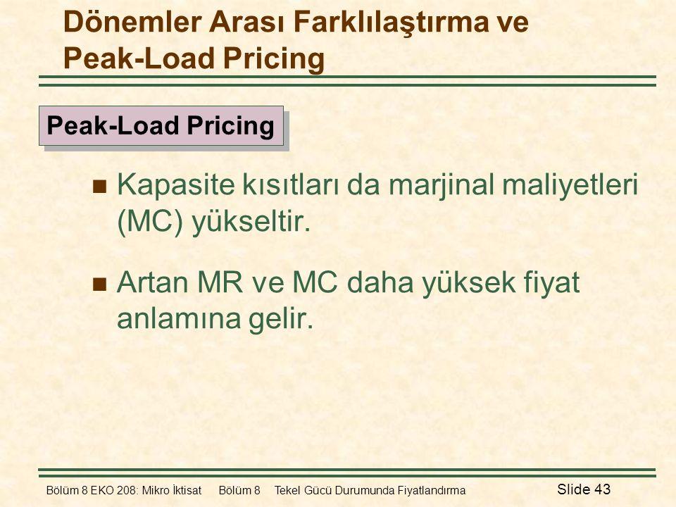 Bölüm 8 EKO 208: Mikro İktisat Bölüm 8 Tekel Gücü Durumunda Fiyatlandırma Slide 43  Kapasite kısıtları da marjinal maliyetleri (MC) yükseltir.  Arta