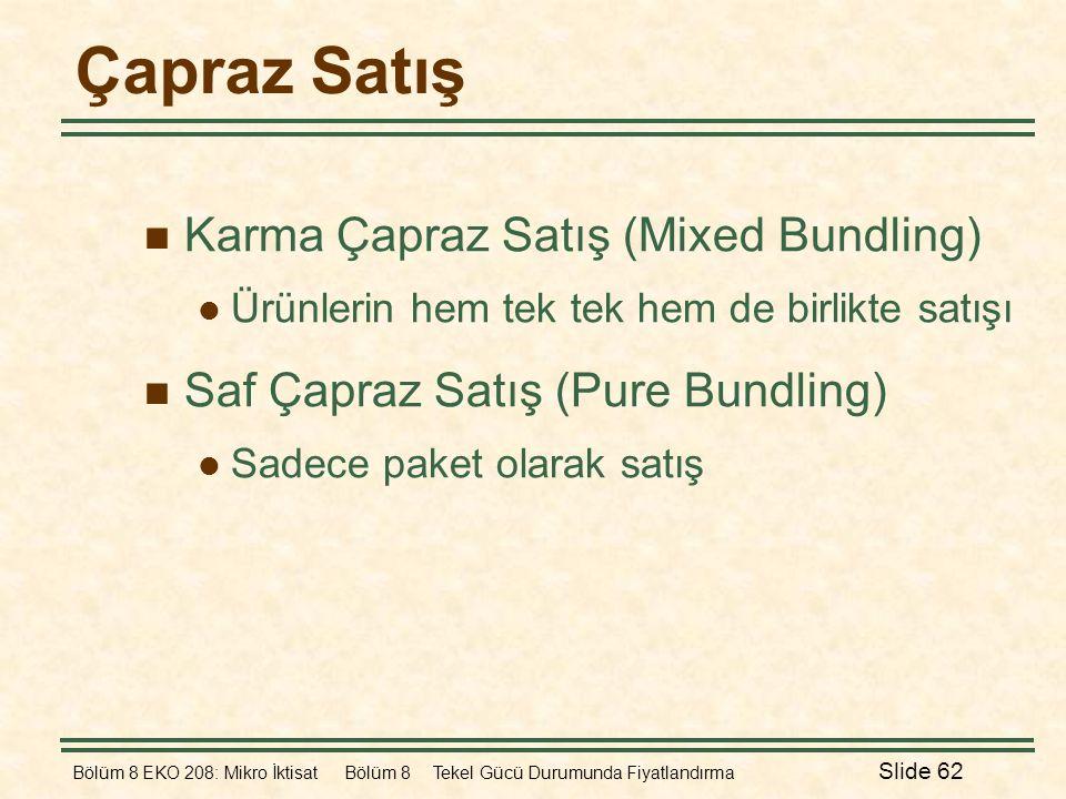 Bölüm 8 EKO 208: Mikro İktisat Bölüm 8 Tekel Gücü Durumunda Fiyatlandırma Slide 62 Çapraz Satış  Karma Çapraz Satış (Mixed Bundling)  Ürünlerin hem