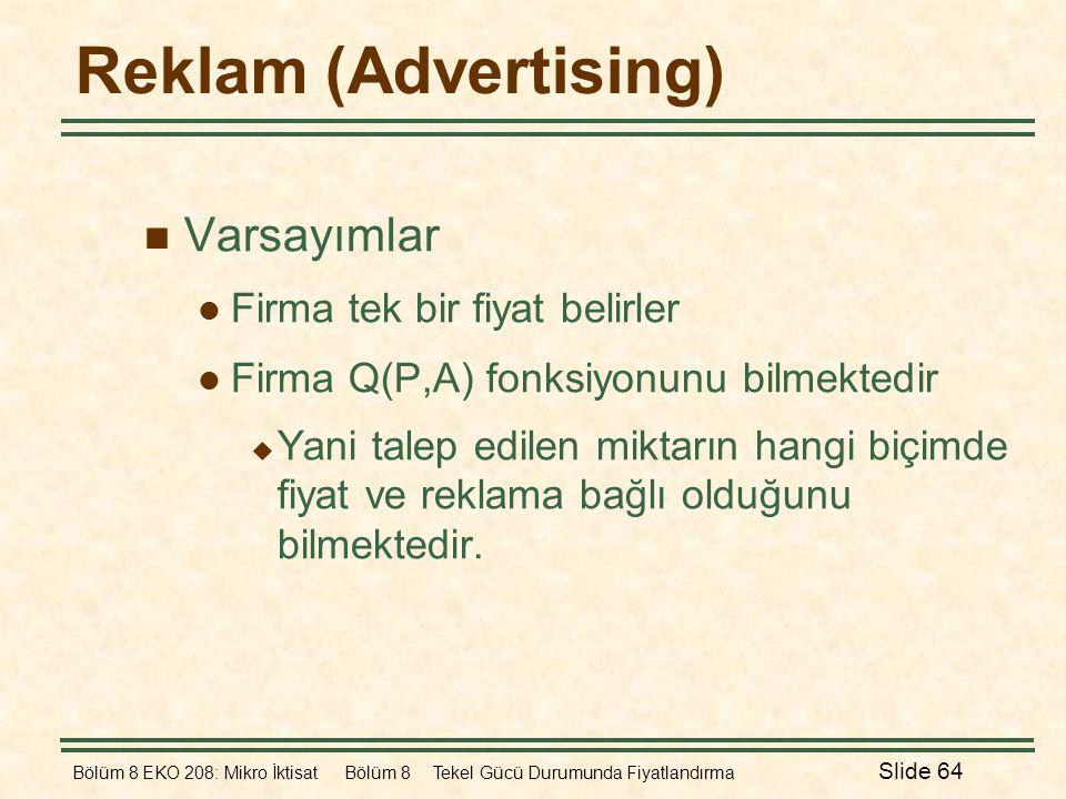 Bölüm 8 EKO 208: Mikro İktisat Bölüm 8 Tekel Gücü Durumunda Fiyatlandırma Slide 64 Reklam (Advertising)  Varsayımlar  Firma tek bir fiyat belirler 
