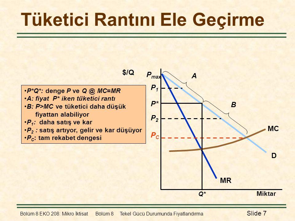Bölüm 8 EKO 208: Mikro İktisat Bölüm 8 Tekel Gücü Durumunda Fiyatlandırma Slide 7 Tüketici Rantını Ele Geçirme •P*Q*: denge P ve Q @ MC=MR •A: fiyat P
