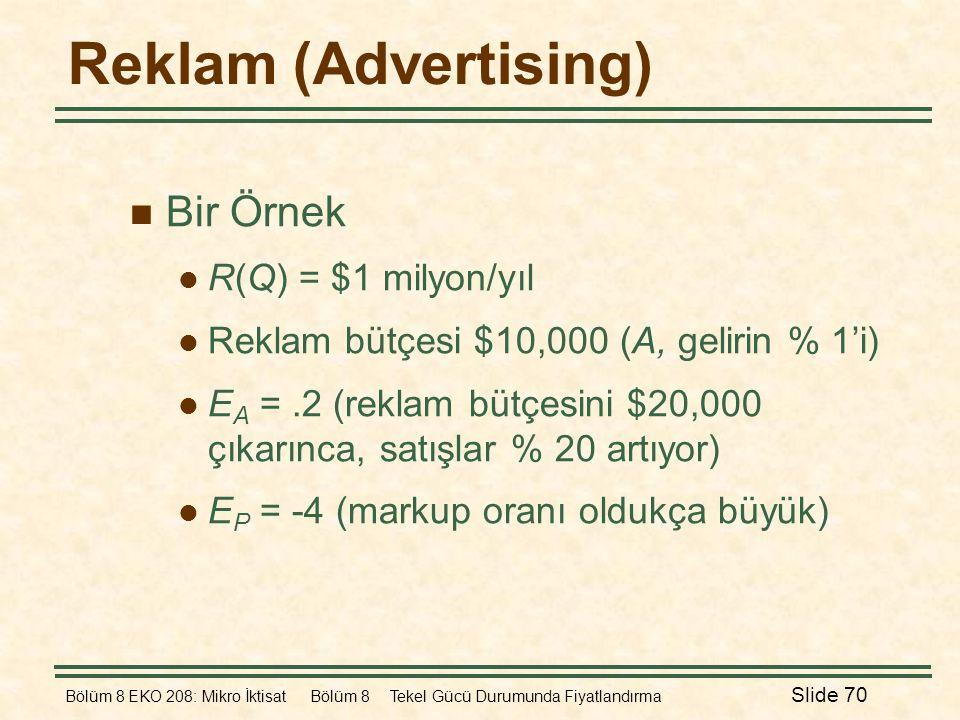 Bölüm 8 EKO 208: Mikro İktisat Bölüm 8 Tekel Gücü Durumunda Fiyatlandırma Slide 70 Reklam (Advertising)  Bir Örnek  R(Q) = $1 milyon/yıl  Reklam bü