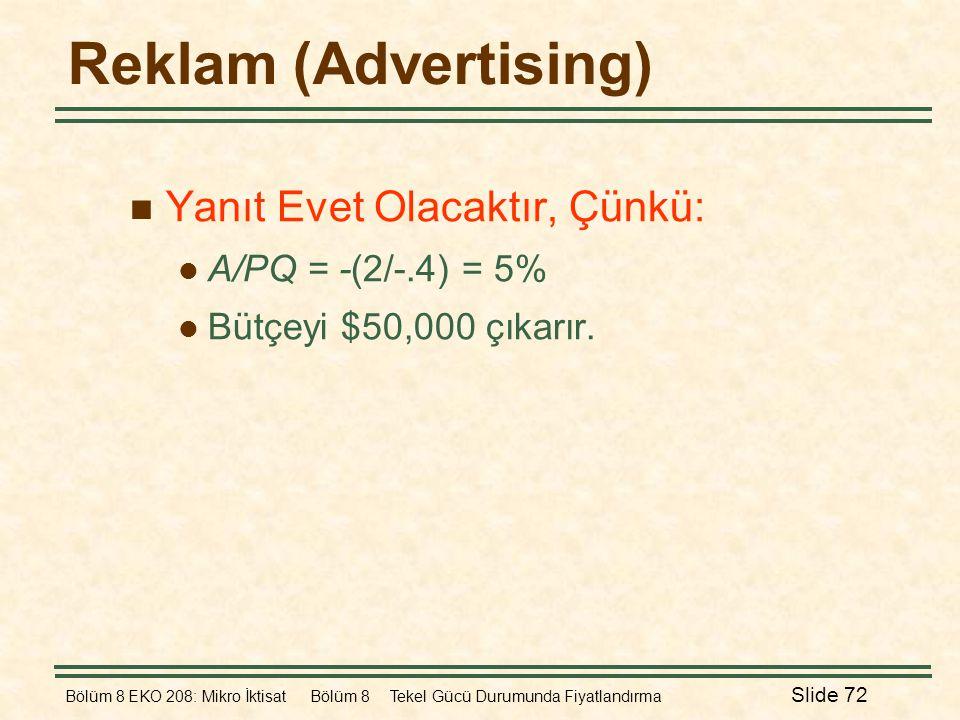 Bölüm 8 EKO 208: Mikro İktisat Bölüm 8 Tekel Gücü Durumunda Fiyatlandırma Slide 72 Reklam (Advertising)  Yanıt Evet Olacaktır, Çünkü:  A/PQ = -(2/-.