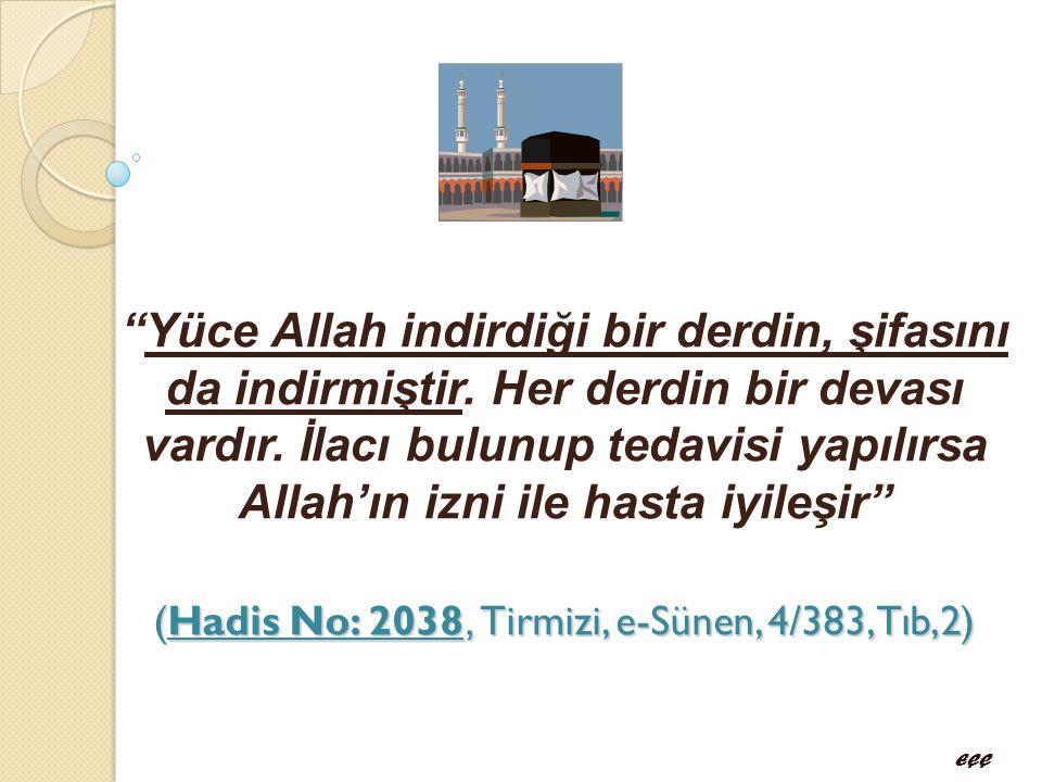 """(Hadis No: 2038, Tirmizi, e-Sünen, 4/383,Tıb,2) """"Yüce Allah indirdiği bir derdin, şifasını da indirmiştir. Her derdin bir devası vardır. İlacı bulunup"""