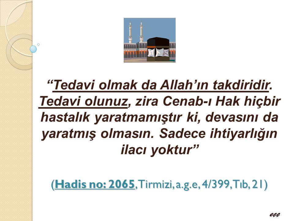 """(Hadis no: 2065, Tirmizi, a.g.e, 4/399,Tıb, 21) """"Tedavi olmak da Allah'ın takdiridir. Tedavi olunuz, zira Cenab-ı Hak hiçbir hastalık yaratmamıştır ki"""